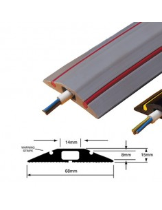 Floor Cable Protector with Hazard Warning Stripe, TYPE 1, 68mm x 15mm (9m length)