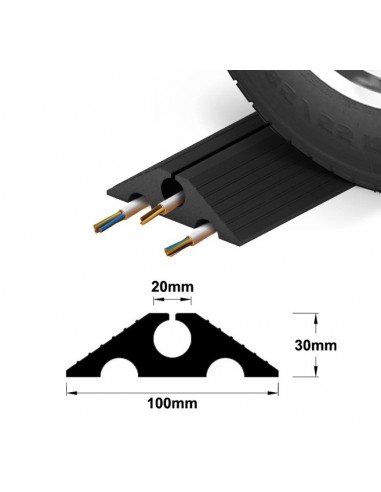 Drive-Over Multi-Channel Rubber Cable Protector, 100mm x 30mm (cut lengths)